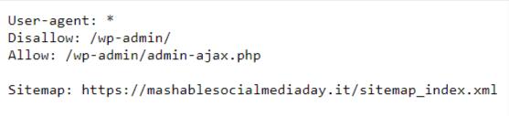 esempio file robots.txt wordpress