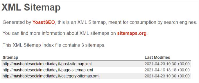sitemap index realizzata con Yoast